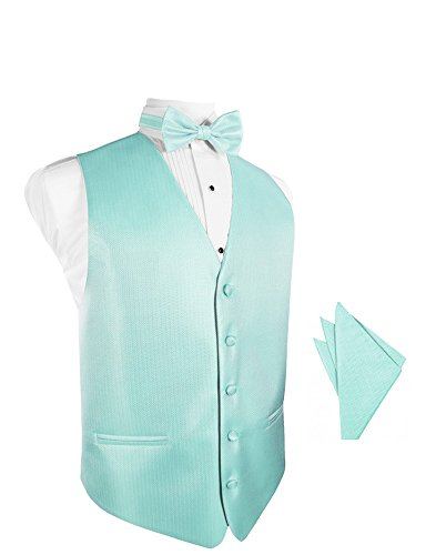 Pool Herringbone Tuxedo Vest with Bowtie & Pocket Square Set ()