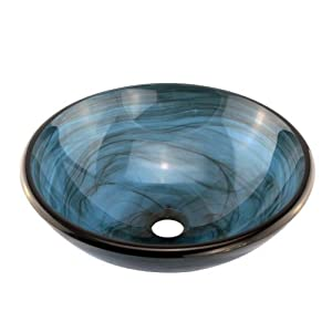 ELITE Bathroom Glass Vessel Sink W.Blue Swirls Textures For Faucet,Vanity