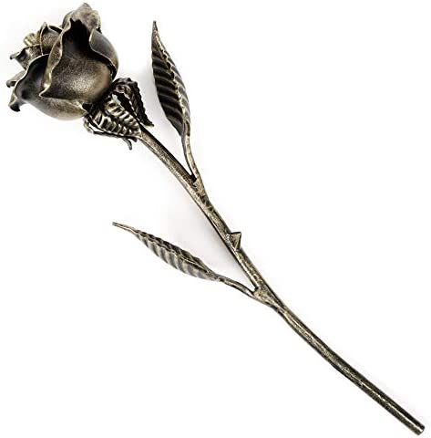 Hand Forged Metal Rose Bronze Stained Gift of Everlasting Love