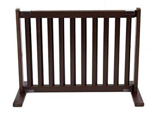 (Small 28-48W x 15.75D x 20H in, Mahogany) Dynamic Accents Indoor Free Standing Pet Gate Safety Barrier Small Mahogany