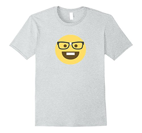 Male Geek Costume Ideas (Mens Emoji Nerd Shirt Yellow Face Geek Costume Glasses Gift XL Heather Grey)
