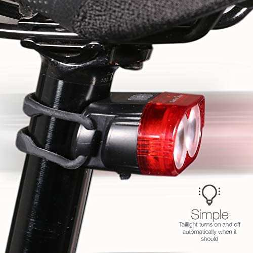 IDEM SafeLite autosensing bike taillight that automatically turns on and off low battery indicator 4 flash modes for day or night USB rechargeable battery lasting up to 30 hours