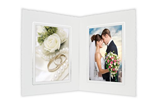 (Golden State Art Cardboard Photo Folder for Double 4x6 Photo (Pack of 50) PF046 White with Silver Lining (White))