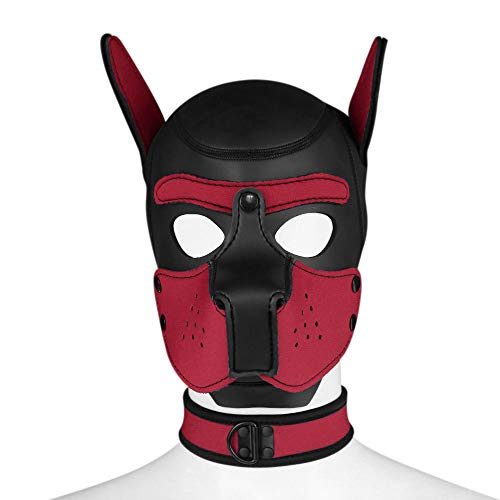 Dog Mask Leather (FeiGu Unisex Costume Dog Head Mask with Collar, Neoprene Full Face Puppy Hood Cosplay Mask Choker)