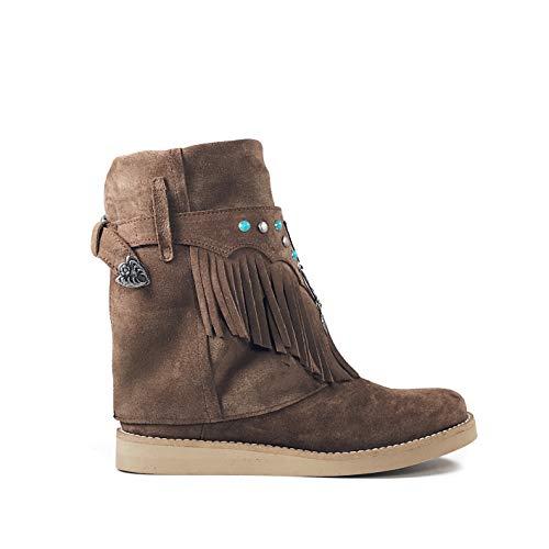 Caña Color Marrón Tachuelas Y Layer Flecos Ante De Turquesas Media Bota Con Opción O Boots Metalizadas Alta Cubrebotas Piel transformable Atrapasueños SXUgq