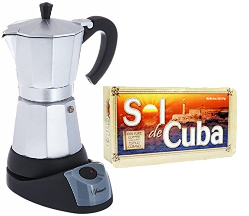 Electric Cuban / Espresso Coffee Maker 6 Cups. 8 oz Pack of Coffee Included by UNIWARE