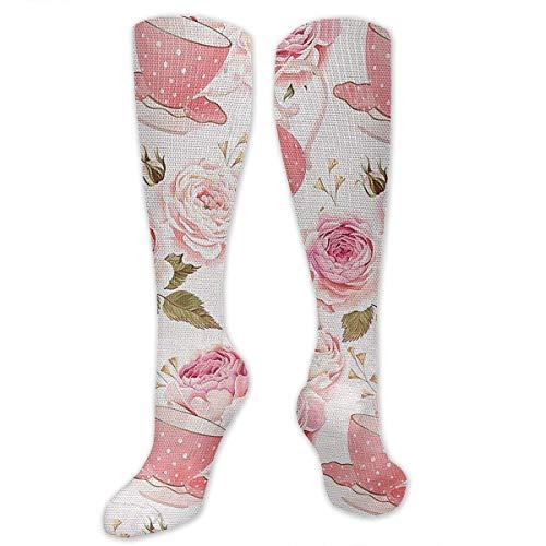 (AKNBSocks3 Tea Cups Roses Ribbon Compression Socks Men & Women - Medical Graduated - Prevent Swelling & DVT Training, Flight Travel, Sedentary Lifestyle - Perfect Maternity & Pregnancy)