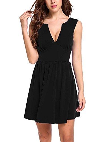 Meaneor Damen Sexy Ärmellos Rückenfreies Kleid Abendkleider Partykleid  Cocktailkleid MiniKleid Tiefer V Ausschnitt Ballkleid A Linie 4460a9d11c