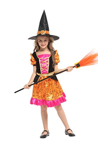 Joygown Girl's Witch Halloween Costume Dress Up Cosplay with Hat Color D L -