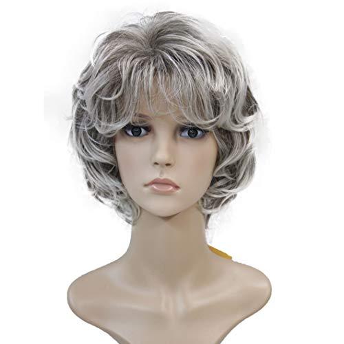 Wiginway Ladies Wigs Short Wavy Bob Wigs For Women Synthetic Capless Full Wig 7 Colors]()