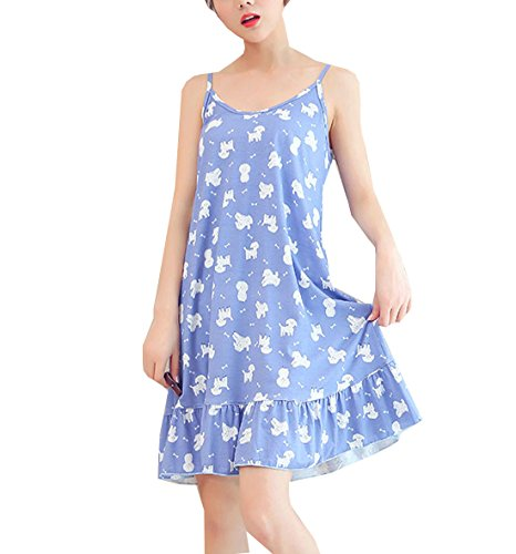 BAIYIXIN Big Girls Lovely Sleeveless Sleepwear Dress Pleated Nightgown Young(8y-16y)