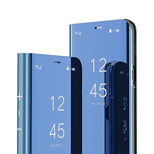 LEMAXELERS Funda Huawei P40 Lite E Funda Espejo Mirror Libro Flip Soporte Plegable Espejo Enchapado Ultra Delgada Window View Delantera y Trasera Completa Protectora Carcasa,Mirror PU Blue