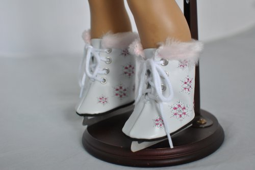 White Furry Ice Skates with Snowflakes for 18 Inch Dolls Including the American Girl - American Ice Girl Skates