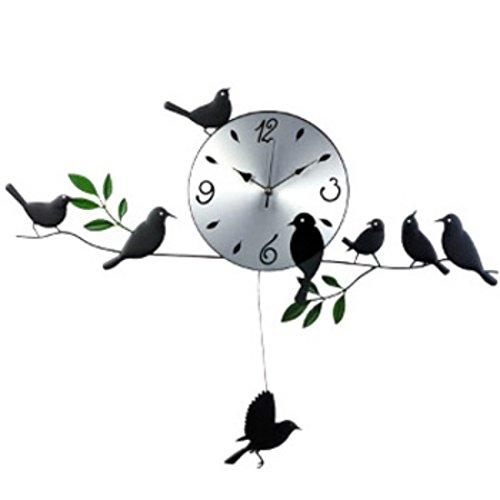 Wall Clock Metal Cat (kilofly Metal Bird Pendulum Wall Clock)