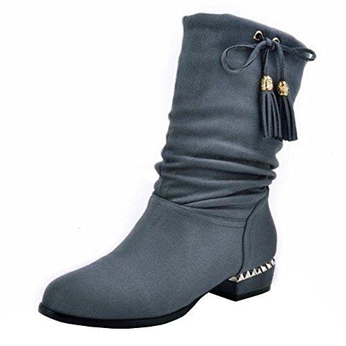 RAZAMAZA Women Retro Tassels Slouchy Mid-Calf Low Heel Boots Grey