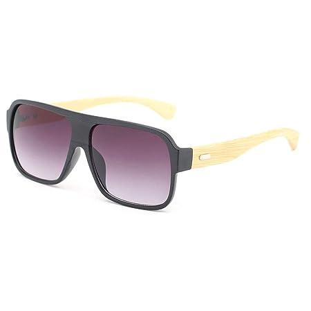 442e4217b3 SUNGLASSES Retro Square Bamboo Wood Unisex Fashion Driving Glasses with  Colored Lenses Polarized glasses (Color   Black frame purple lens)   Amazon.co.uk  ...