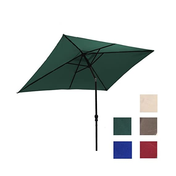 ADA Kosycosy 6.6X10 ft Rectangular Patio Umbrella Outdoor Market Umbrella Tilt Adjustment Crank Lift System, Perfect Outdoors, Patio Any Parties (Green) -  - shades-parasols, patio-furniture, patio - 41hRbGVwLrL. SS570  -