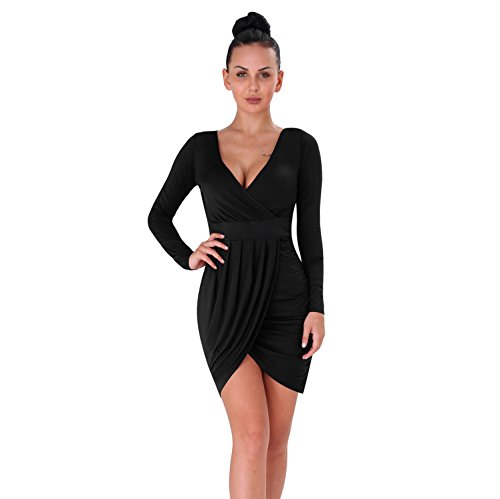 YS.DAMAI Women's V Neck Front Cross Sexy Halter Dress Bodycon Bandage Cocktail Party Dress (Medium, D Black)