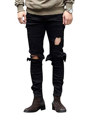 Pantalones Skinny Rasgados Negro del Lannister Dril Rasgados Agujeros De Los Flacos Pantalones Pantalones Vaqueros Sólido Jeans con Casuales del Delgados Algodón Color Fashion Pantalones ggZqzwxH