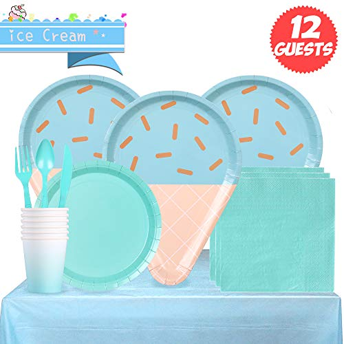 Partybus Party Supplies Set - Serves 12, 93 Ct, Sky Blue Ice Cream Theme Party Disposable Tableware Kit for Boys Girls Kids Birthday Decorations, Includes Dinner Plates, Dessert Plates, Napkins, Cups, Table Cloth, Silverware Boy 7' Dessert Plates