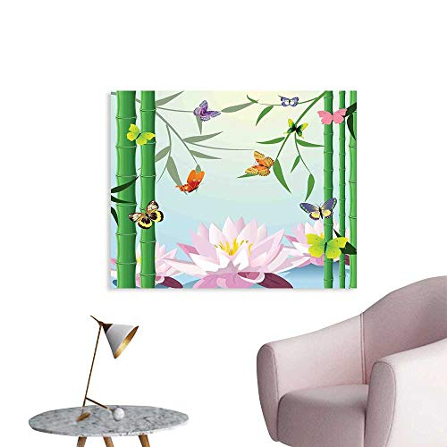 J Chief Sky Butterflies Custom Prints Poster Butterflies on The Branch of Lotus Bamboo Flower Exotic Nature Mod Graphic Art Home Mural Wallpaper W48 xL32