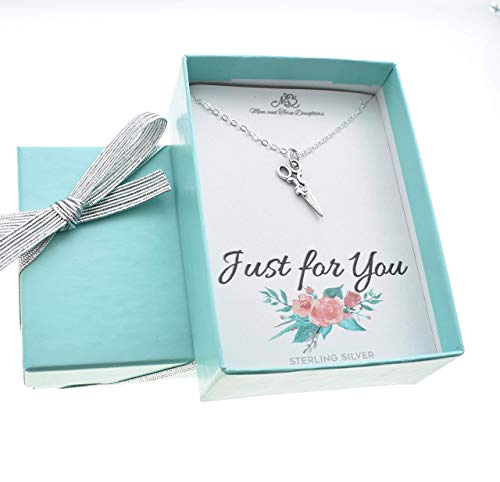 """Scissors Necklace in sterling silver on an 18"""" sterling silver cable cable. Gift for hairdresser. Gift for seamstress. Origami Artist."""