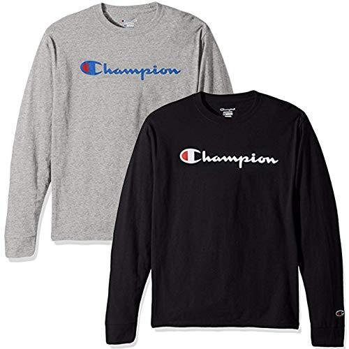 Champion Men's Classic Jersey Script T-Shirt, Long Sleeve-2 Pack (Black and Grey LS, Medium)