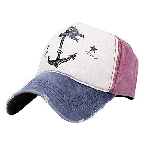 JUA PORROR Man Woman Couples Baseball Caps Cotton Blend Do Old Pirate Ship Anchor Sun Hat (Navy Red Wine 1) ()