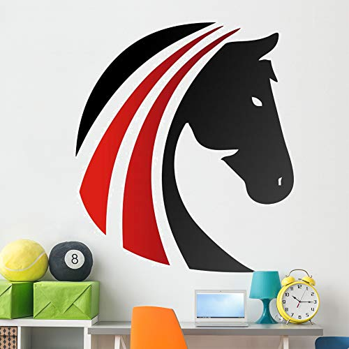Wallmonkeys Horse Logo Silhouette Head Wall Decal Peel and Stick Animal Graphics (60 in W x 46 in H) - Inch 46 Art Logo Wall