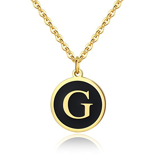 REVEMCN Stainless Steel Alphabet and Bible Verse Proverbs 4:23 Pendant Necklace for Men Women with Keyring and 22'' Chain (Gold-Tone: G) ()