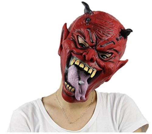primerry Halloween (Hell little devil) Creepy Scary or Funny Latex Mask (Devil Face Halloween)