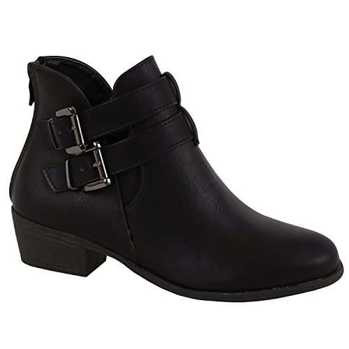 TOP Moda Women's Chase-5 Buckle Straps Stacked Low Heel Ankle Booties Black 6 Black Buckle Ankle Boots