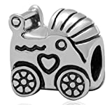 Sterling Silver Charm Baby Stroller Charm Bead fits All Charm Bracelets for Women Girls Gifts EC118