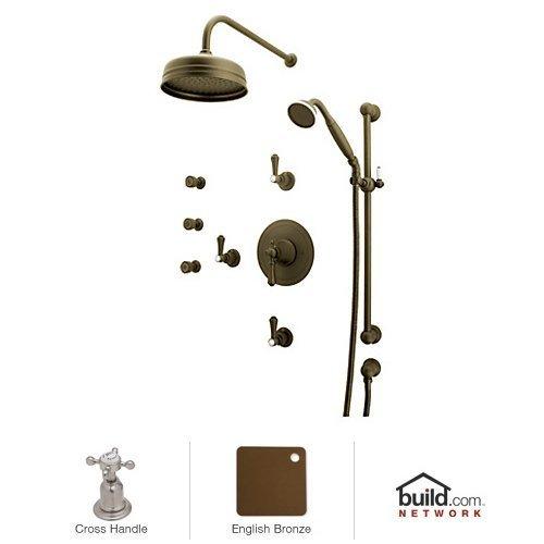 Rohl U.KIT67X-EB Georgian Era Shower System with Thermostatic Valve Trim and Shower Head, English Bronze ()
