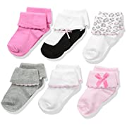 Luvable Friends Baby Basic Socks, 6 Pack, Pink/Gray, 0-6 Months