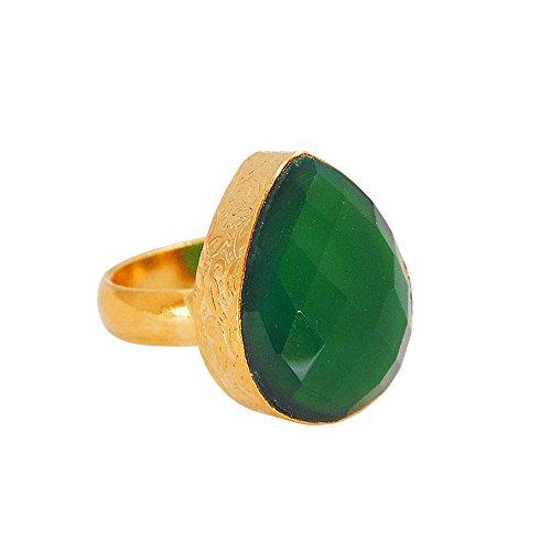 Handmade 22k Yellow Gold Vermeil Green Onyx Gemstone Pear Shape Statement Ring For Wedding Gift ()