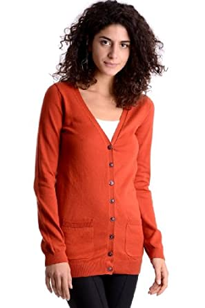 Womens Button Front Cardigan Ladies (Small - UK (8-10) - Burnt ...