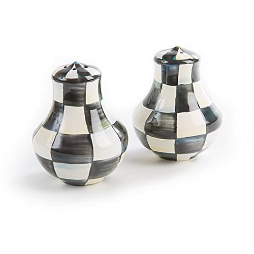 MacKenzie-Childs Salt and Pepper Shaker - Black and White, Enamel Courtly Check Print Set of 2 Mini Grinder 2.5