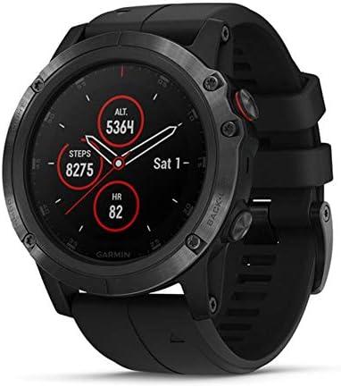 Garmin 010-01989-01 Fenix 5X Plus, Ultimate Multisport GPS Smartwatch, Black, Black Band, European Spec