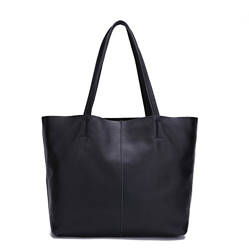Medium Leather Tote Bag with Zipper: Amazon.com