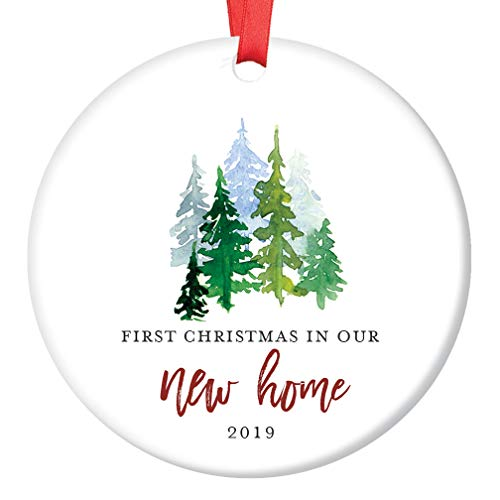 New Home Ornament 2019 1st Christmas In Our New House, First Home Ornament Housewarming Gifts Xmas Present Idea Ceramic Keepsake 3 Flat Circle Porcelain with Red Ribbon & Free Box