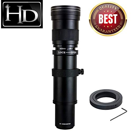 JINTU 420-800mm f/ 8.3-F16 Telephoto Zoom Camera Lens for Canon EOS Rebel APS-C DSLR 60D, 77D, 70D,80D, 650D, 750D, 7D, T7i, T7s, T7, T6s, T6i, T6, T5i, T5, SL2 SL1 Digital SLR Cameras + Carry Bag (Canon Eos Rebel Xti Lens)