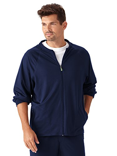 Modern Fit Collection by Jockey Scrubs Men's Zip Front Fleece Solid Scrub Jacket XXX-Large New Navy