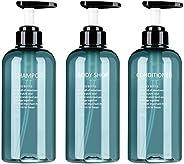 3pack Empty Pump Lotion Dispenser Bottles 16oz Round Plastic Storage Shampoo Conditioner Body Wash Squat Refil