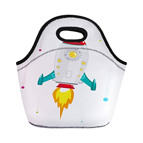 (Semtomn Neoprene Lunch Tote Bag Kids High Speed Voyage of Rocket Ship Gear Window Reusable Cooler Bags Insulated Thermal Picnic Handbag for Travel,School,Outdoors,Work)