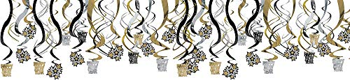 amscan Rocking New Year Party Hanging Swirl Decorations , Black/Gold/Silver, Foil , Pack of 30 Party Supplies -