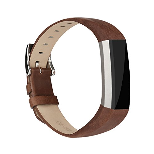 Vancle Fitbit Alta Band Leather Adjustable Replacement Accessories Strap with Buckle for Fit bit Alta (Coffee) (Colored Buckle)