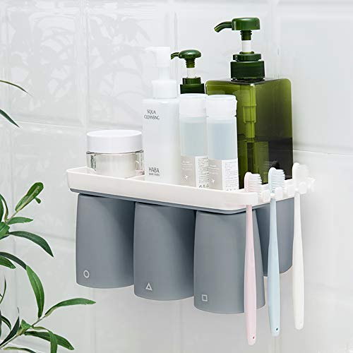 Toothbrush Toothpaste Holder Wall Mounted with 3 Magnetic Cup Grey Large Hanging -