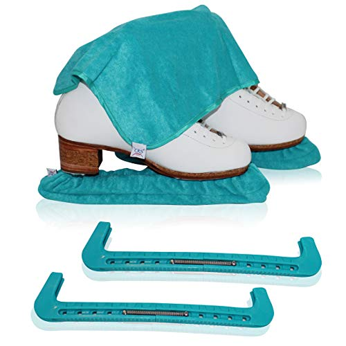 CRS Cross Skate Guards, Soakers & Towel Gift Set - Ice Skating Guards and Soft Skate Blade Covers for Figure Skating or Hockey (Triple Teal, Medium)