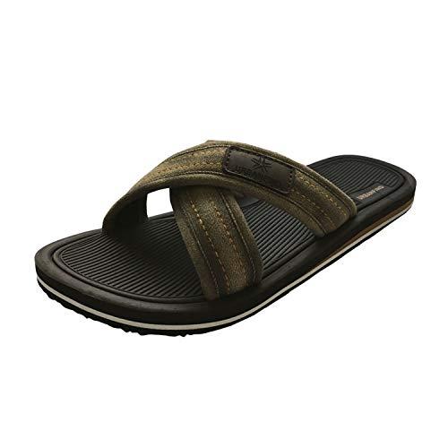 URBANFIND Men's Slides Sandals Thong Flip Flop Shower Slippers Brown, 9 D(M) US